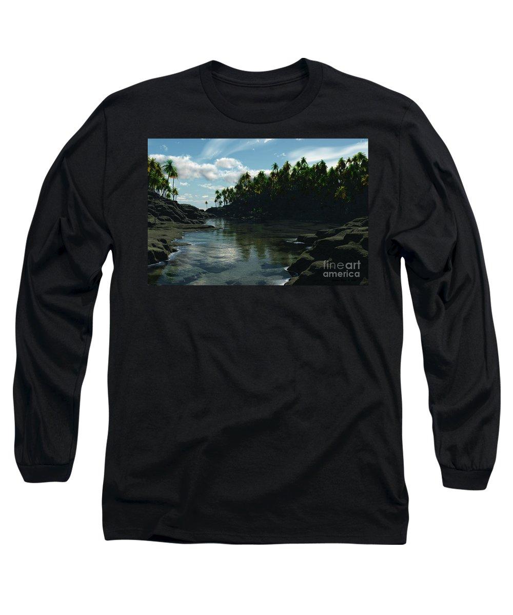 Rivers Long Sleeve T-Shirt featuring the digital art Banana River by Richard Rizzo