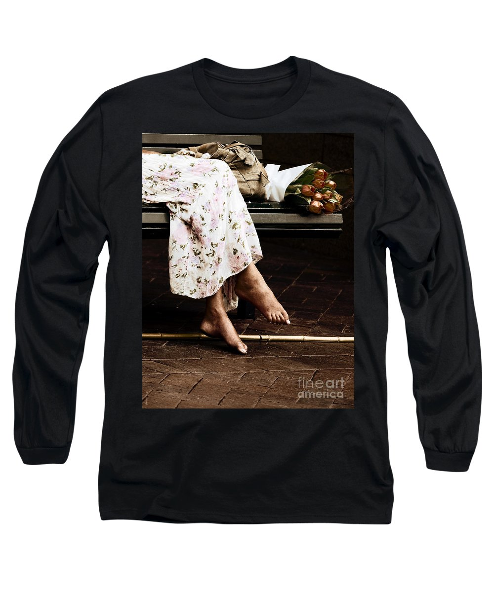 Barefeet Feet Barefoot Tulips Long Sleeve T-Shirt featuring the photograph Barefoot And Tulips by Avalon Fine Art Photography