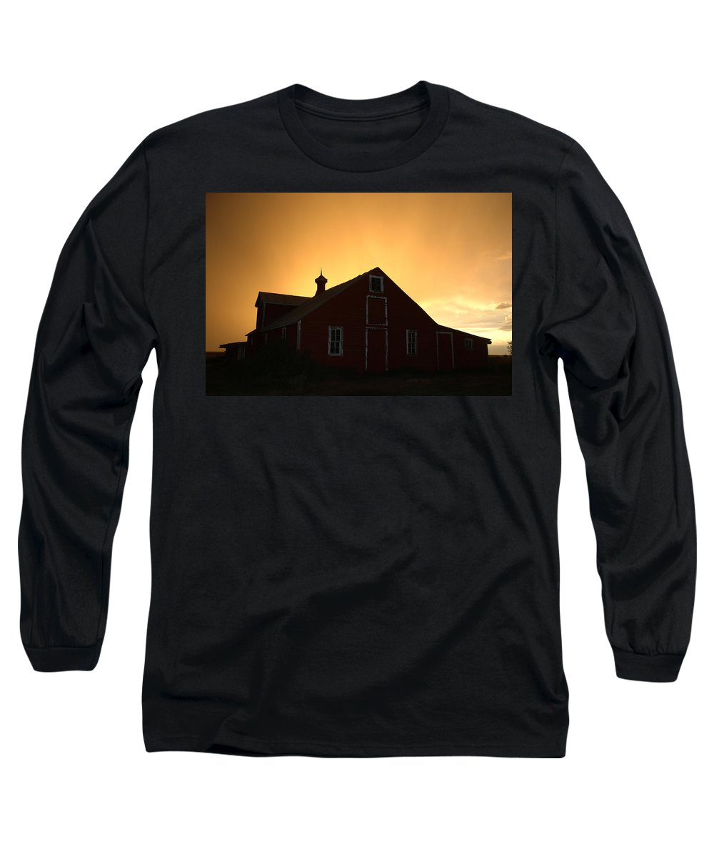 Barn Long Sleeve T-Shirt featuring the photograph Barn At Sunset by Jerry McElroy