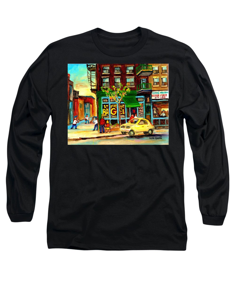 St Long Sleeve T-Shirt featuring the painting Baseball And A Bagel by Carole Spandau
