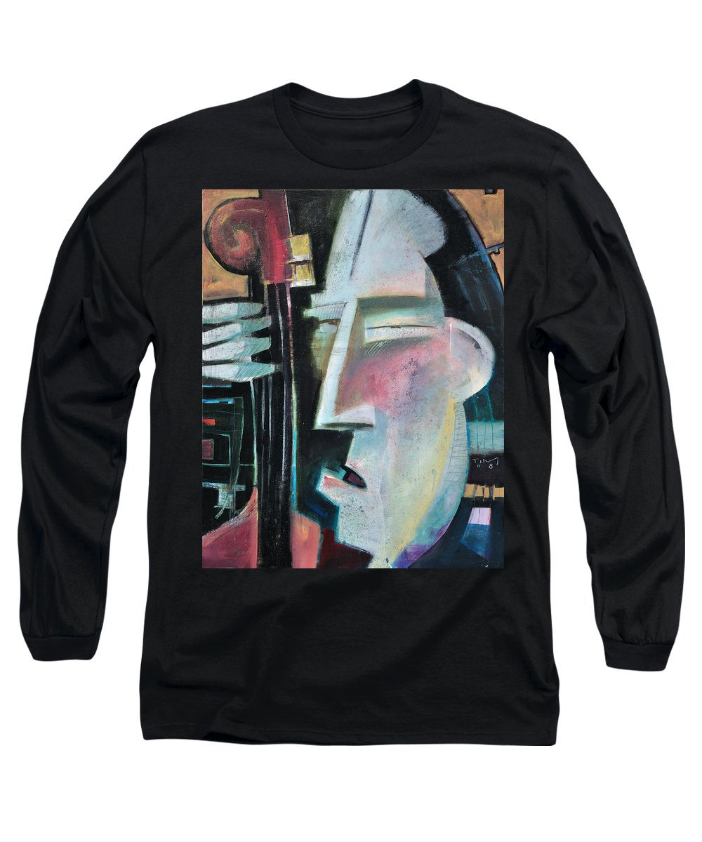 Jazz Long Sleeve T-Shirt featuring the painting Bass Face by Tim Nyberg