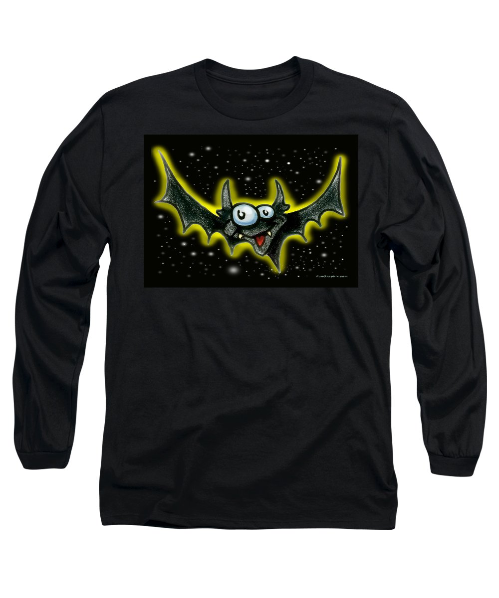 Bat Long Sleeve T-Shirt featuring the greeting card Bat by Kevin Middleton