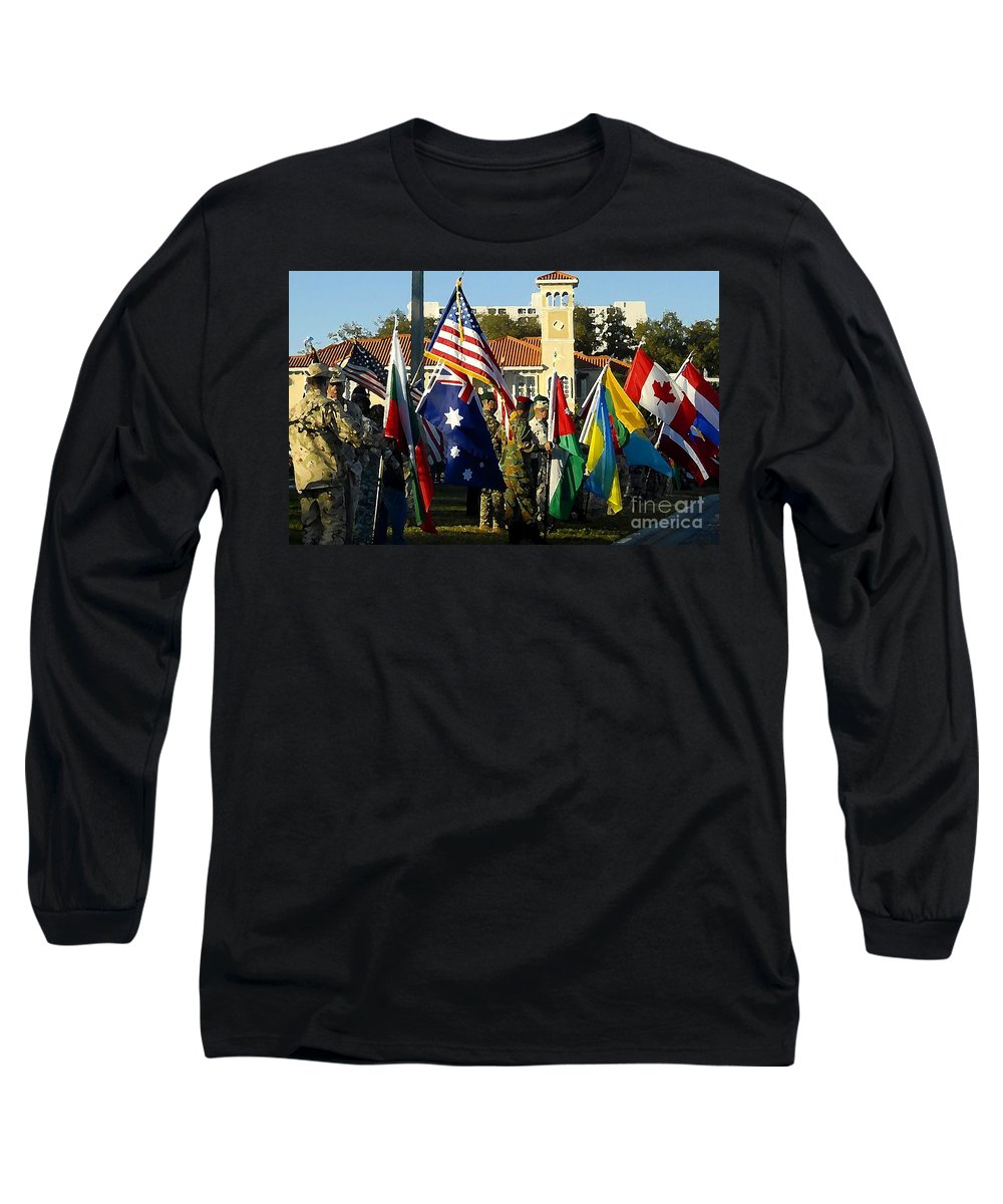 Bayshore Long Sleeve T-Shirt featuring the photograph Bayshore Patriots by David Lee Thompson