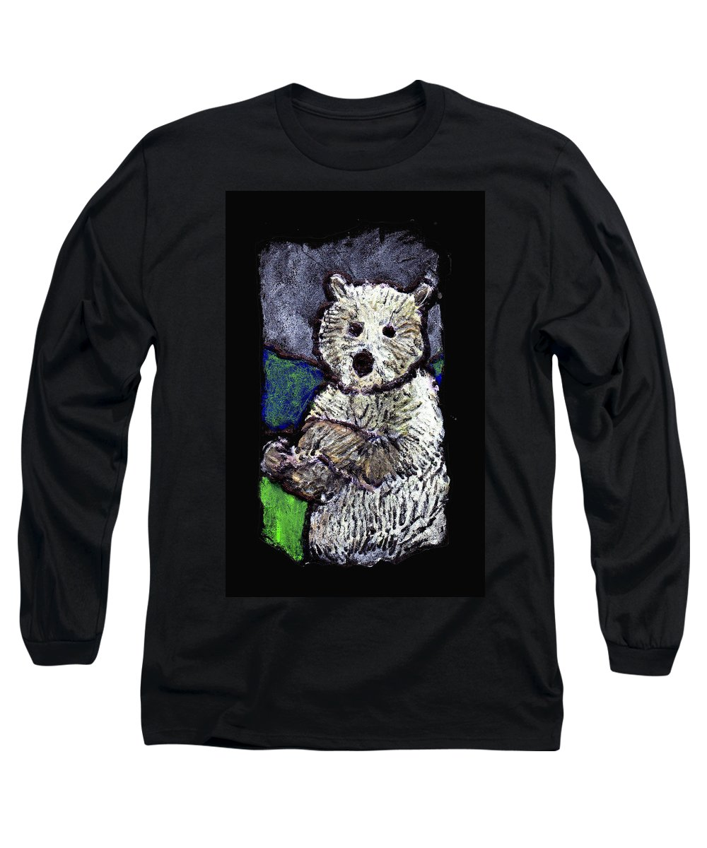 Bear Long Sleeve T-Shirt featuring the painting Bearly Scary by Wayne Potrafka