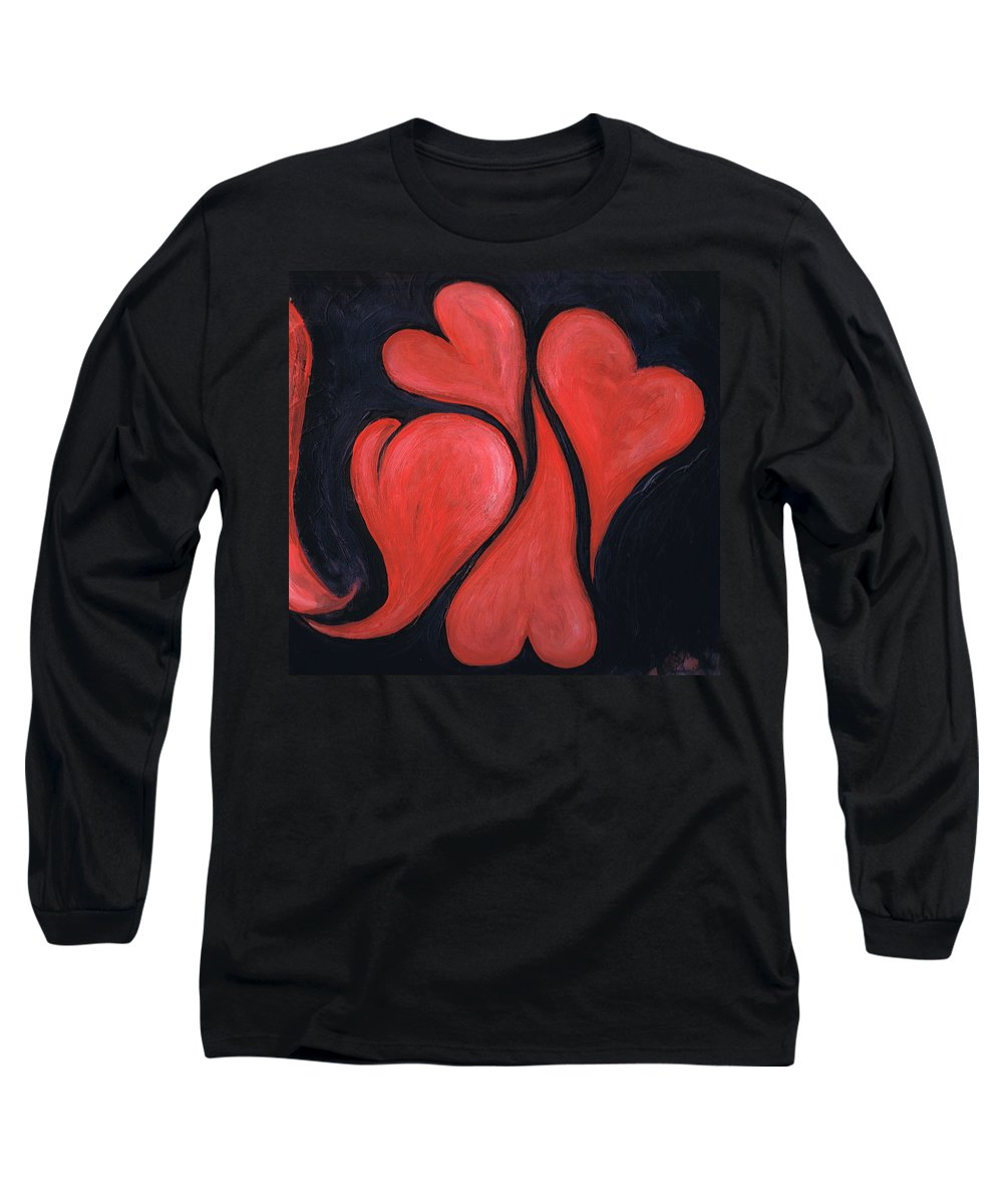 Hearts Long Sleeve T-Shirt featuring the painting Beating Hearts by Nancy Mueller