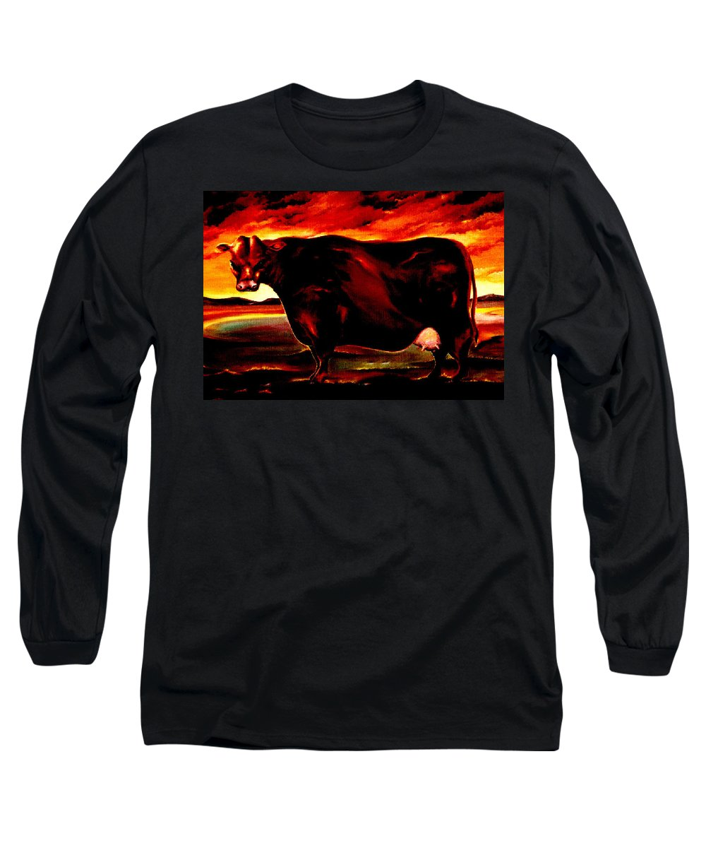 Farm Animal Long Sleeve T-Shirt featuring the painting Beef Holocaust IIi by Mark Cawood