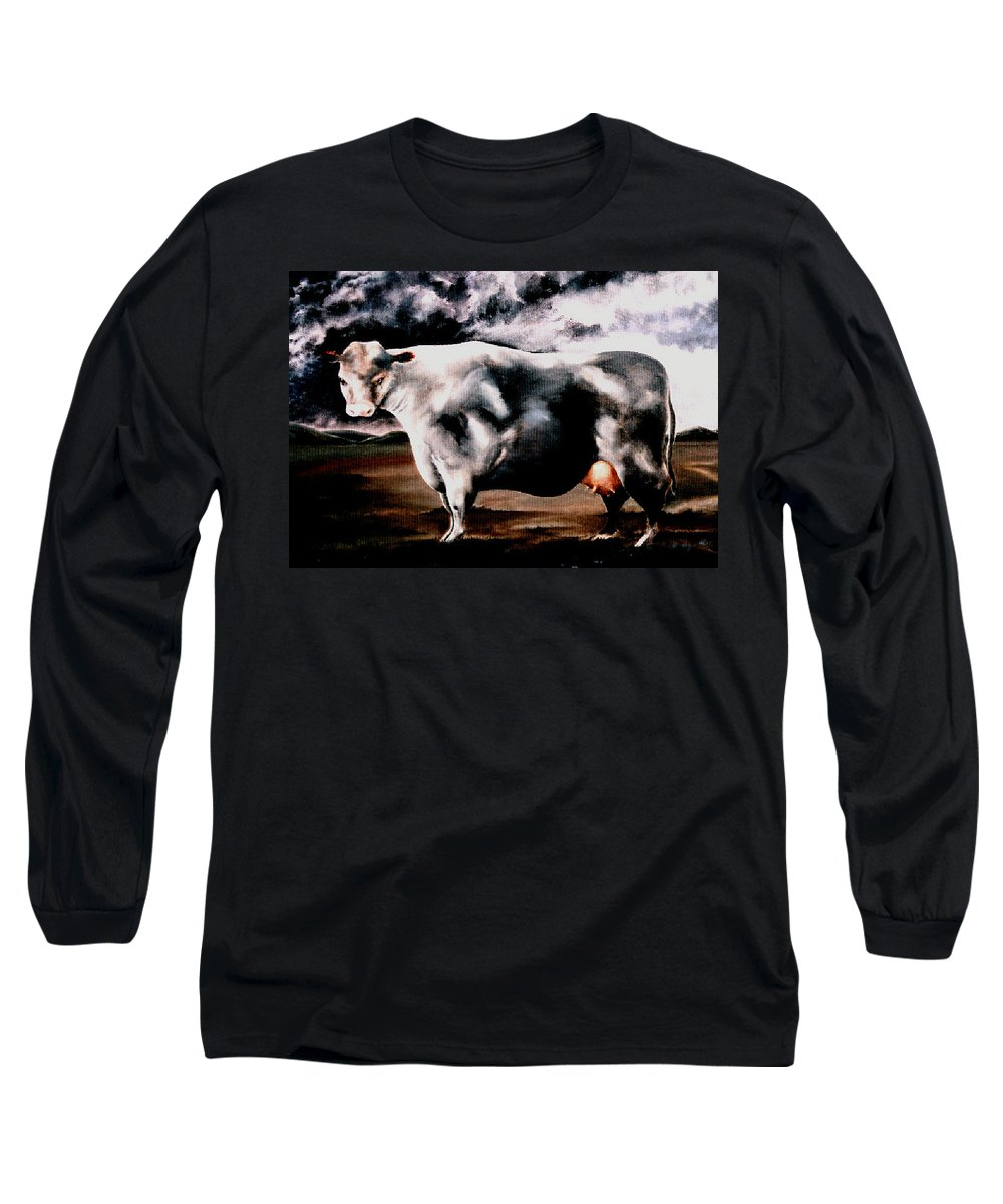 Cow Long Sleeve T-Shirt featuring the painting Beef Holocaust Iv by Mark Cawood