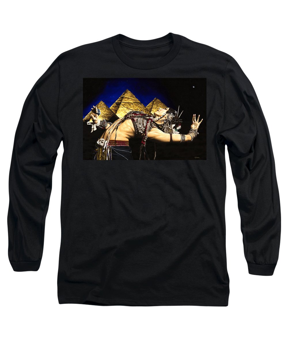 Bellydance Long Sleeve T-Shirt featuring the painting Bellydance Of The Pyramids - Rachel Brice by Richard Young