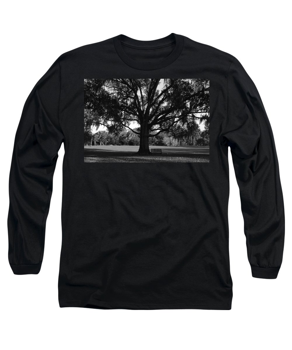 Park Bench Long Sleeve T-Shirt featuring the photograph Bench Under Oak by David Lee Thompson