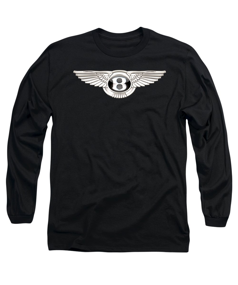 'wheels Of Fortune' By Serge Averbukh Long Sleeve T-Shirt featuring the photograph Bentley - 3 D Badge On Black by Serge Averbukh