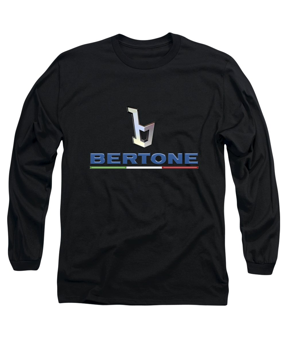 'auto Badges' Collection By Serge Averbukh Long Sleeve T-Shirt featuring the photograph Bertone - 3 D Badge On Black by Serge Averbukh