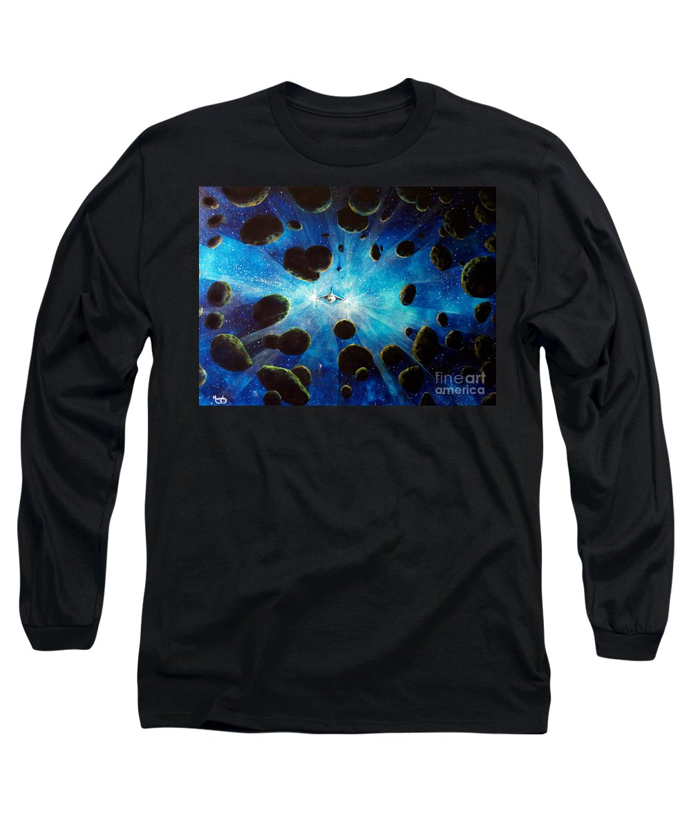 Asteroid Field. Astro Long Sleeve T-Shirt featuring the painting Better Go Around by Murphy Elliott