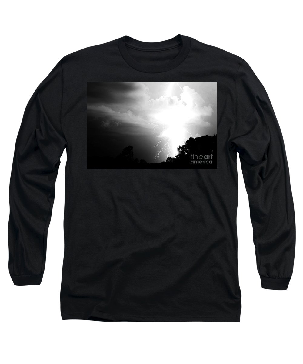 Lightning Long Sleeve T-Shirt featuring the photograph Big Strike by Amanda Barcon