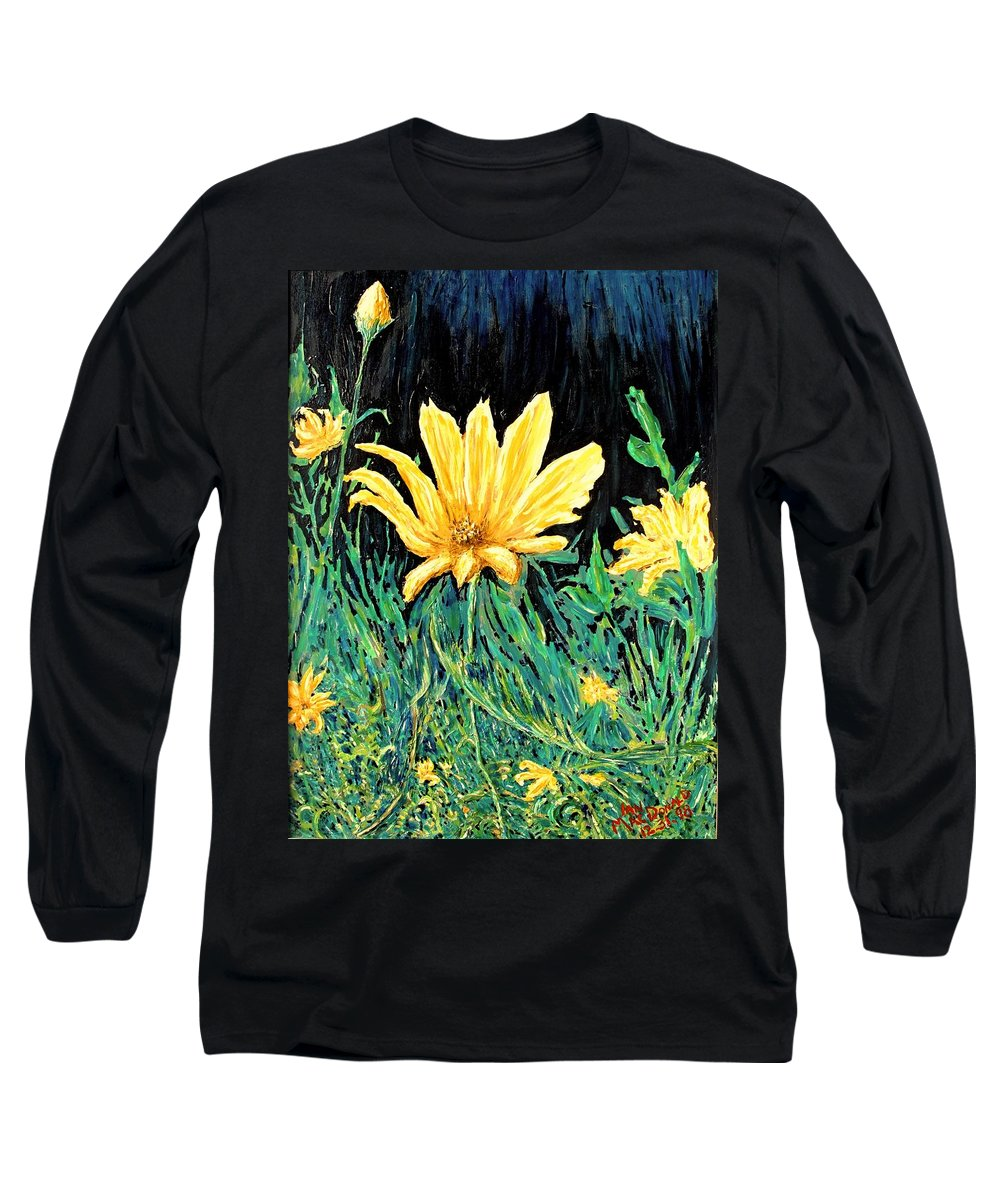 Flower Long Sleeve T-Shirt featuring the painting Big Yellow by Ian MacDonald