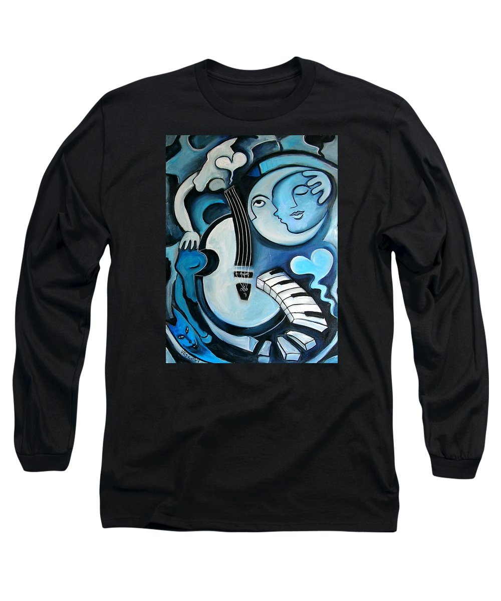 Abstract Long Sleeve T-Shirt featuring the painting Black And Bleu by Valerie Vescovi