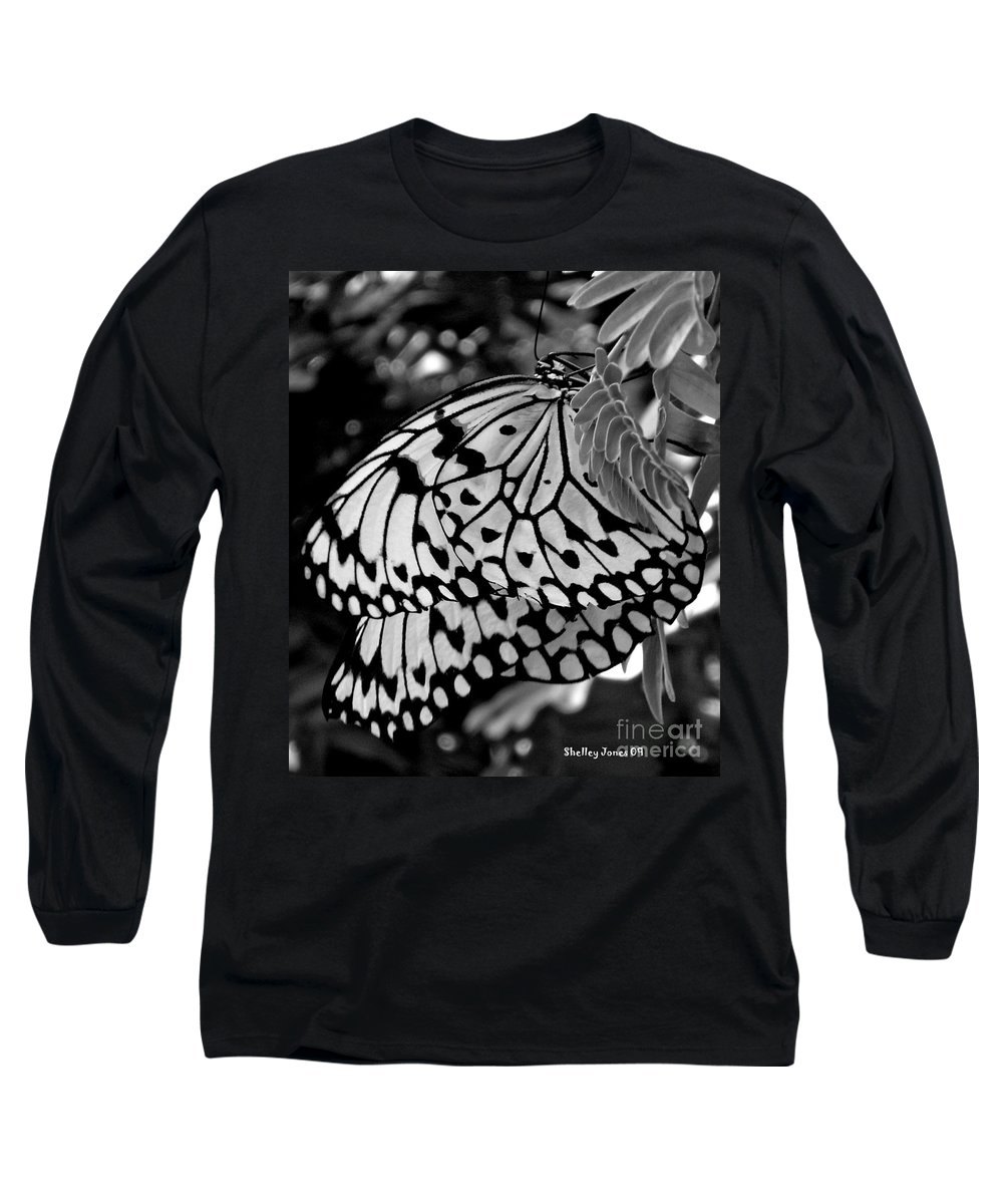 Photograph Long Sleeve T-Shirt featuring the photograph Black And White Butterfly by Shelley Jones