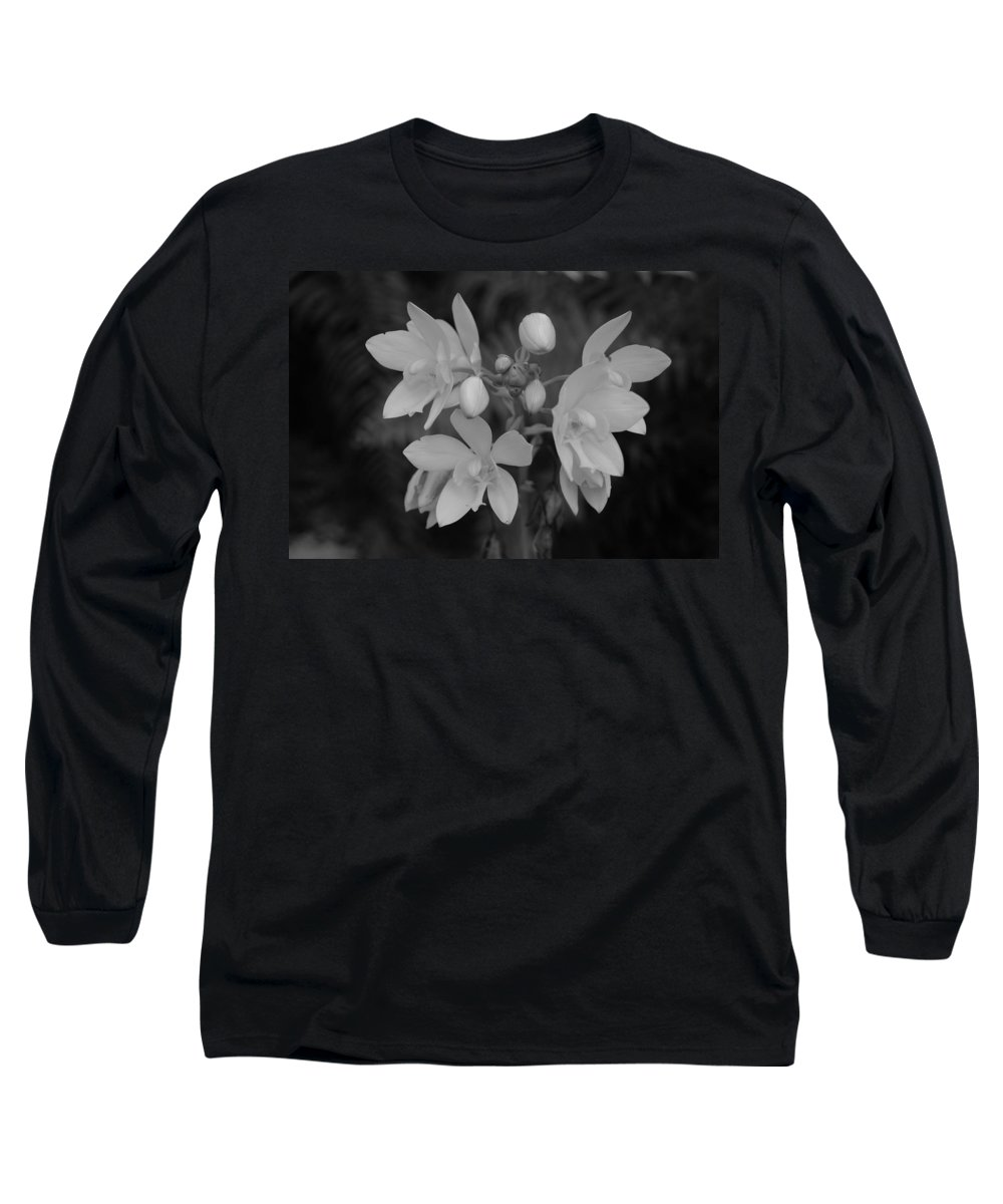 Macro Long Sleeve T-Shirt featuring the photograph Black And White Flower by Rob Hans
