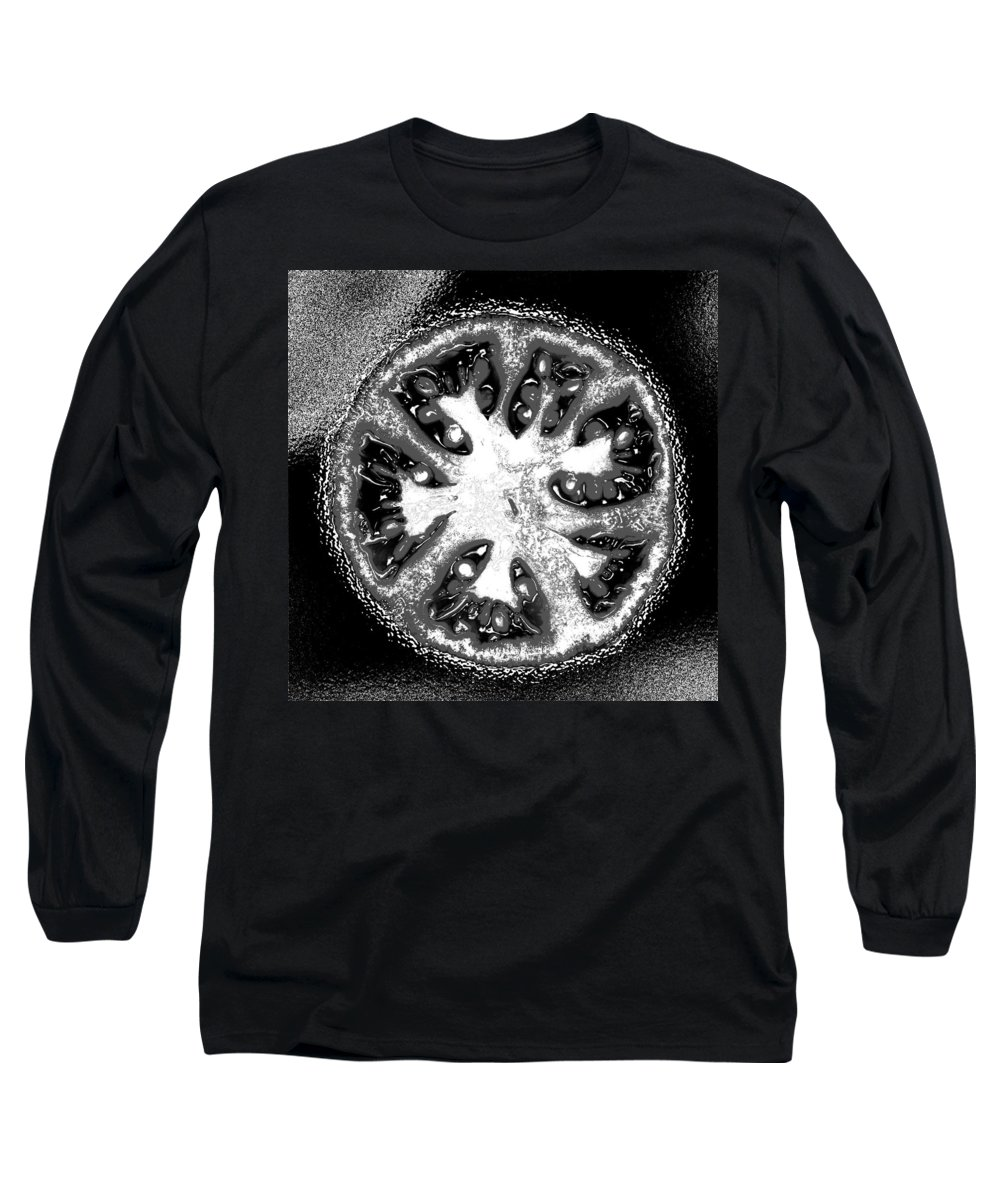 Tomato Long Sleeve T-Shirt featuring the photograph Black And White Tomato by Nancy Mueller