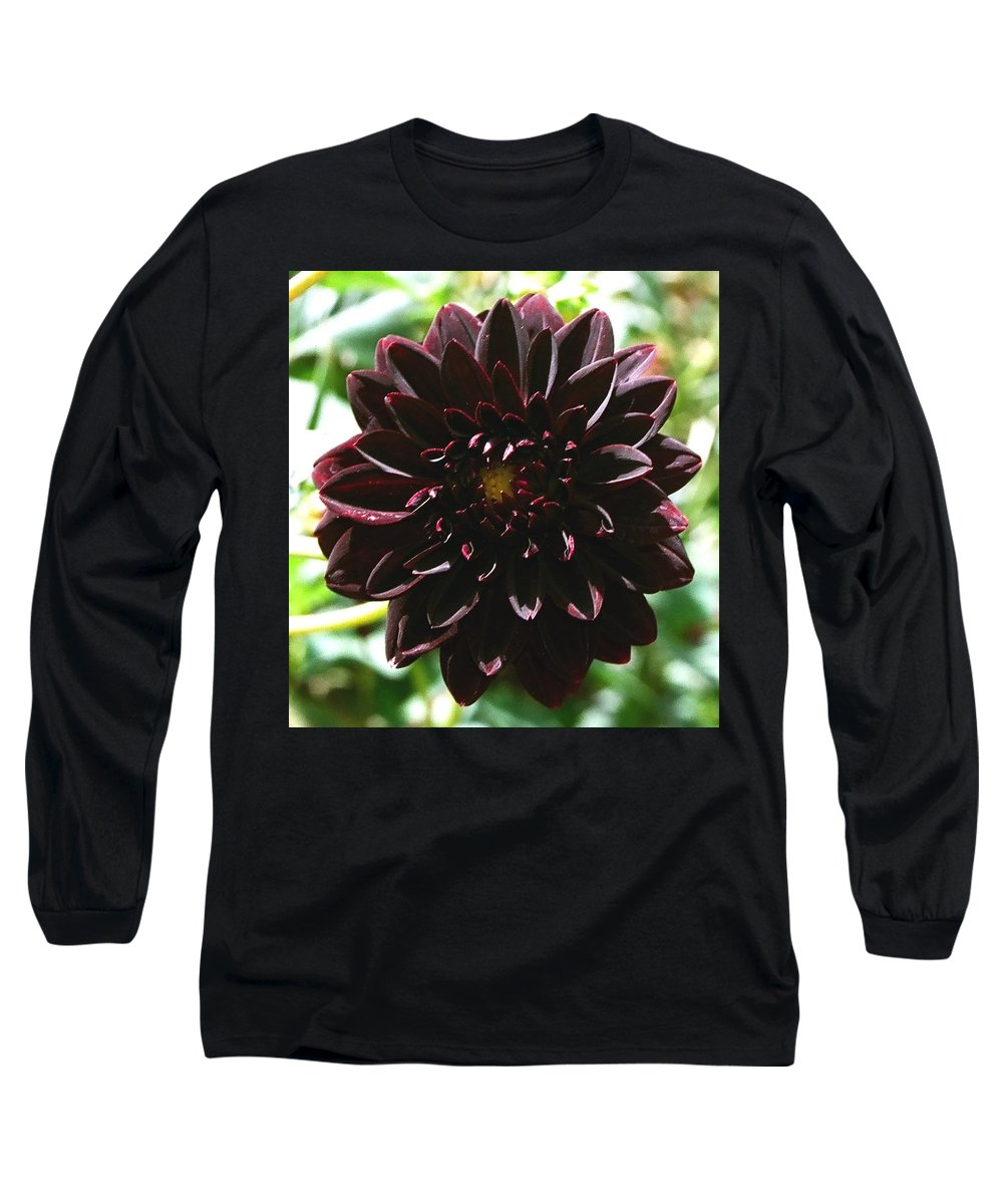Flower Long Sleeve T-Shirt featuring the photograph Black Dalia by Dean Triolo