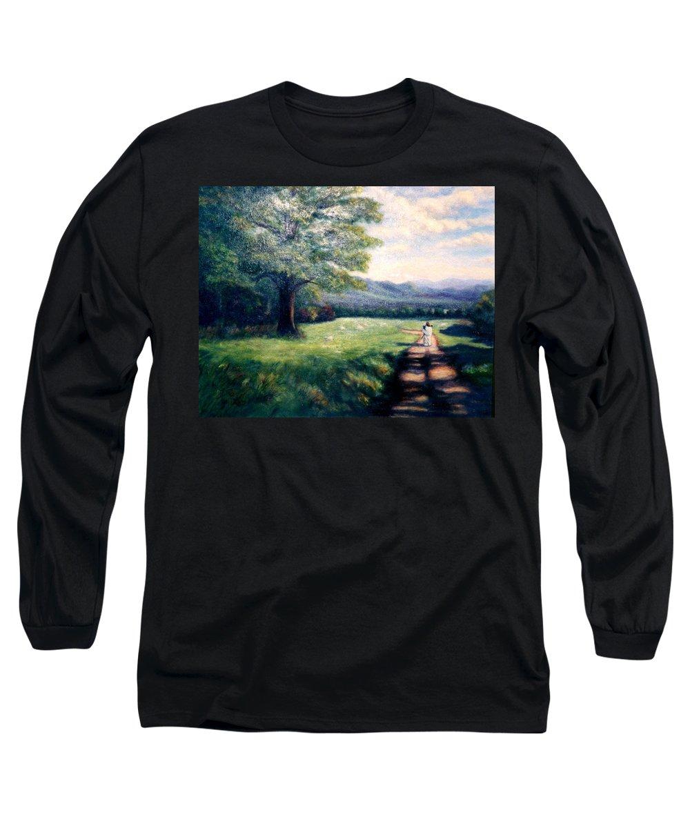 Christian Long Sleeve T-Shirt featuring the painting Black Sheep by Gail Kirtz