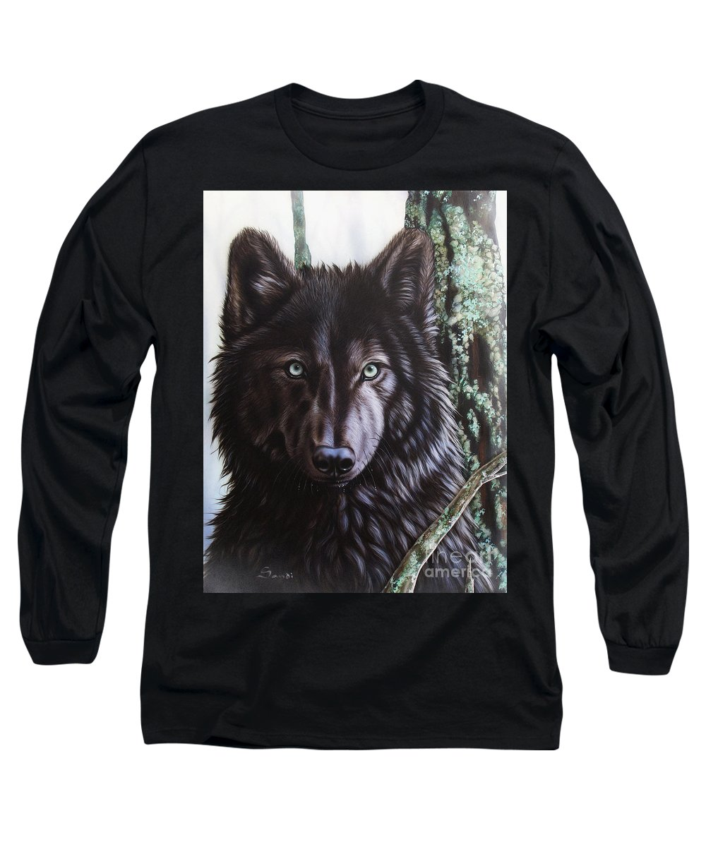 Wolves Long Sleeve T-Shirt featuring the painting Black Wolf by Sandi Baker
