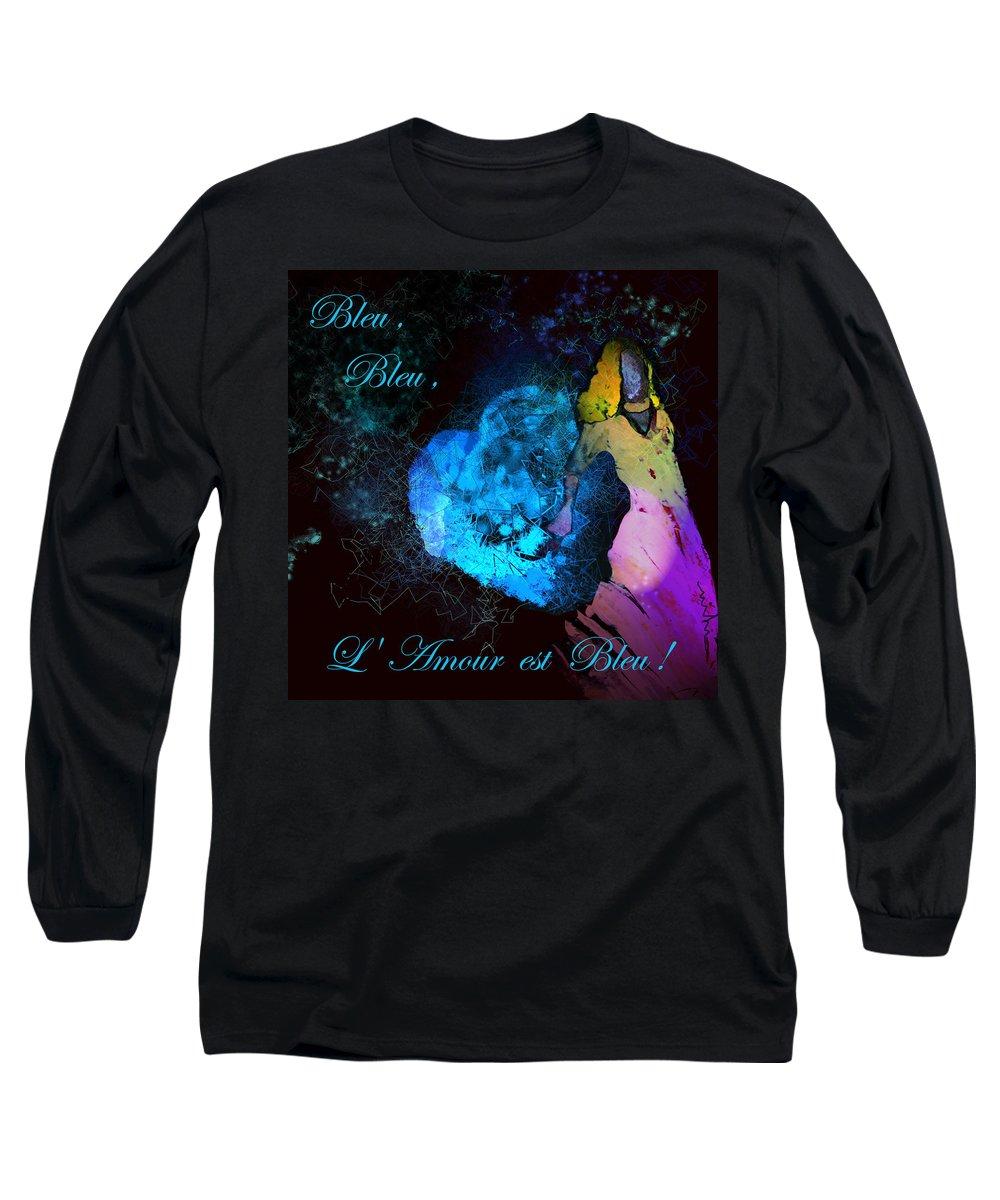 Love Long Sleeve T-Shirt featuring the painting Bleu Bleu L Amour Est Bleu by Miki De Goodaboom