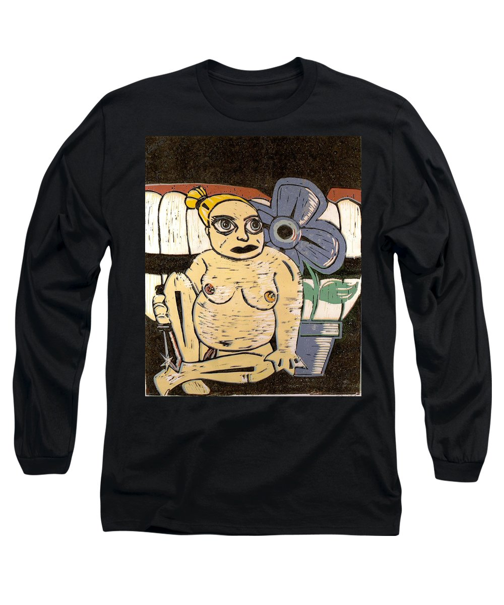 Print Long Sleeve T-Shirt featuring the painting Block Print by Thomas Valentine