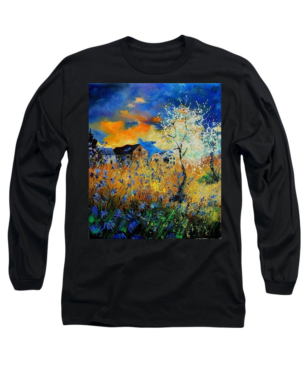 Poppies Long Sleeve T-Shirt featuring the painting Blooming Trees by Pol Ledent