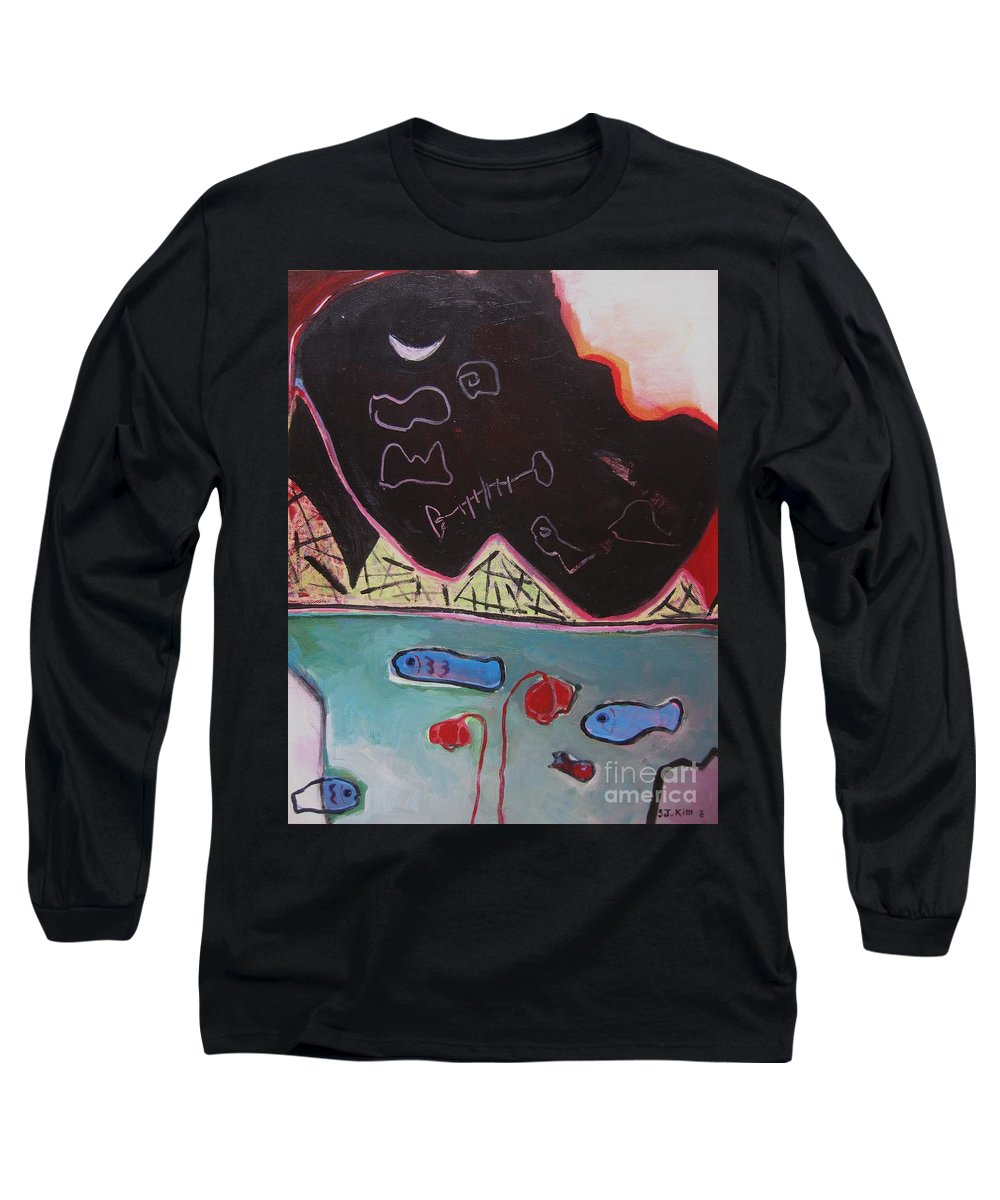 Blow Me Down Painting Long Sleeve T-Shirt featuring the painting Blow Me Down11 by Seon-Jeong Kim