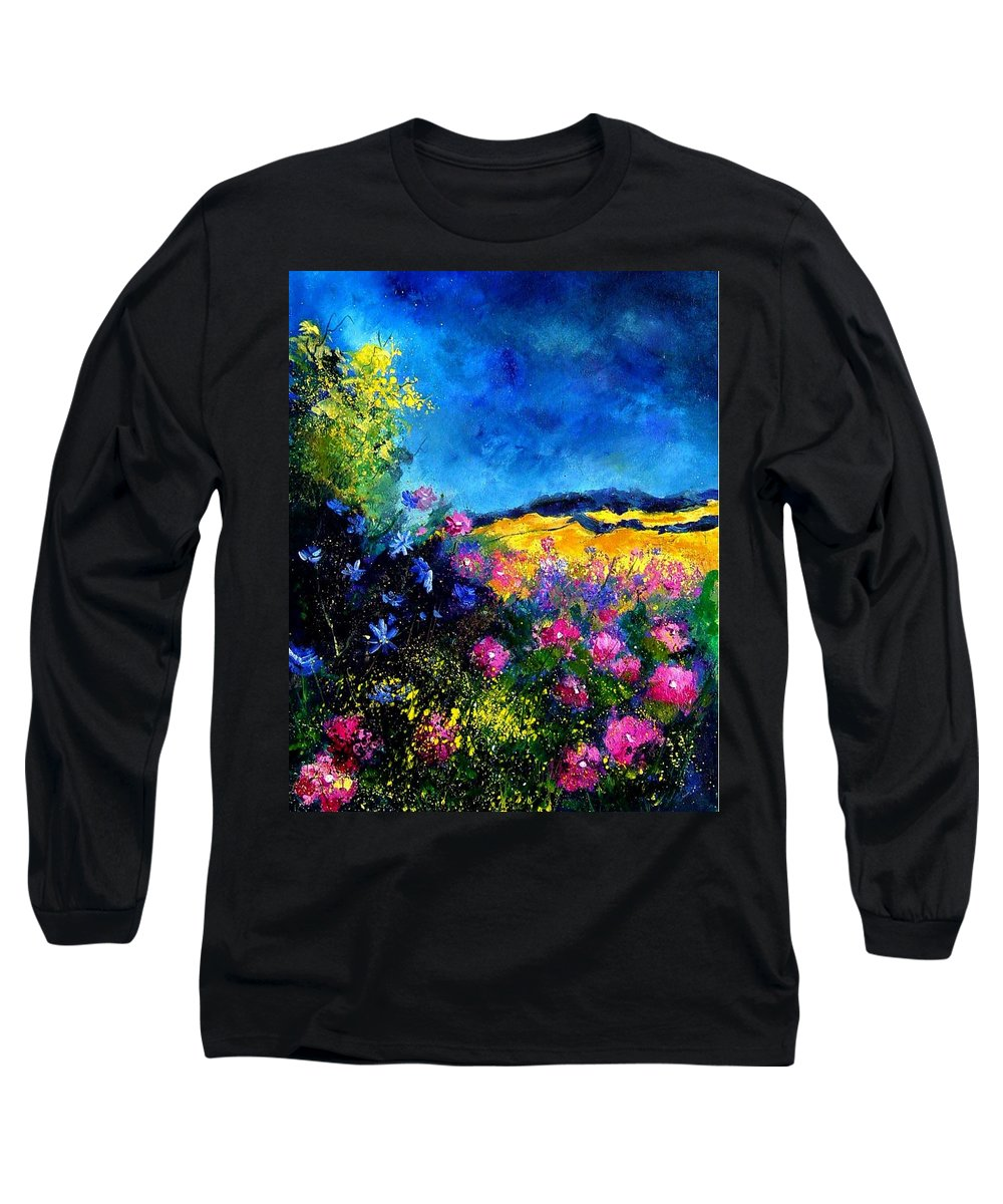 Landscape Long Sleeve T-Shirt featuring the painting Blue And Pink Flowers by Pol Ledent
