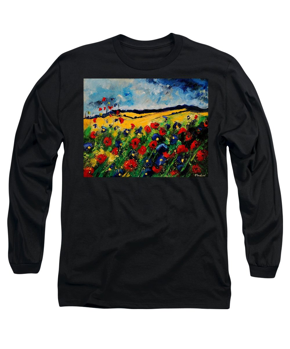 Poppies Long Sleeve T-Shirt featuring the painting Blue And Red Poppies 45 by Pol Ledent