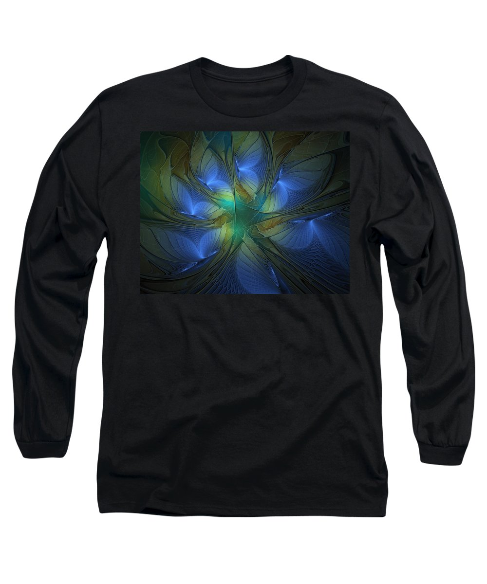 Digital Art Long Sleeve T-Shirt featuring the digital art Blue Butterflies by Amanda Moore