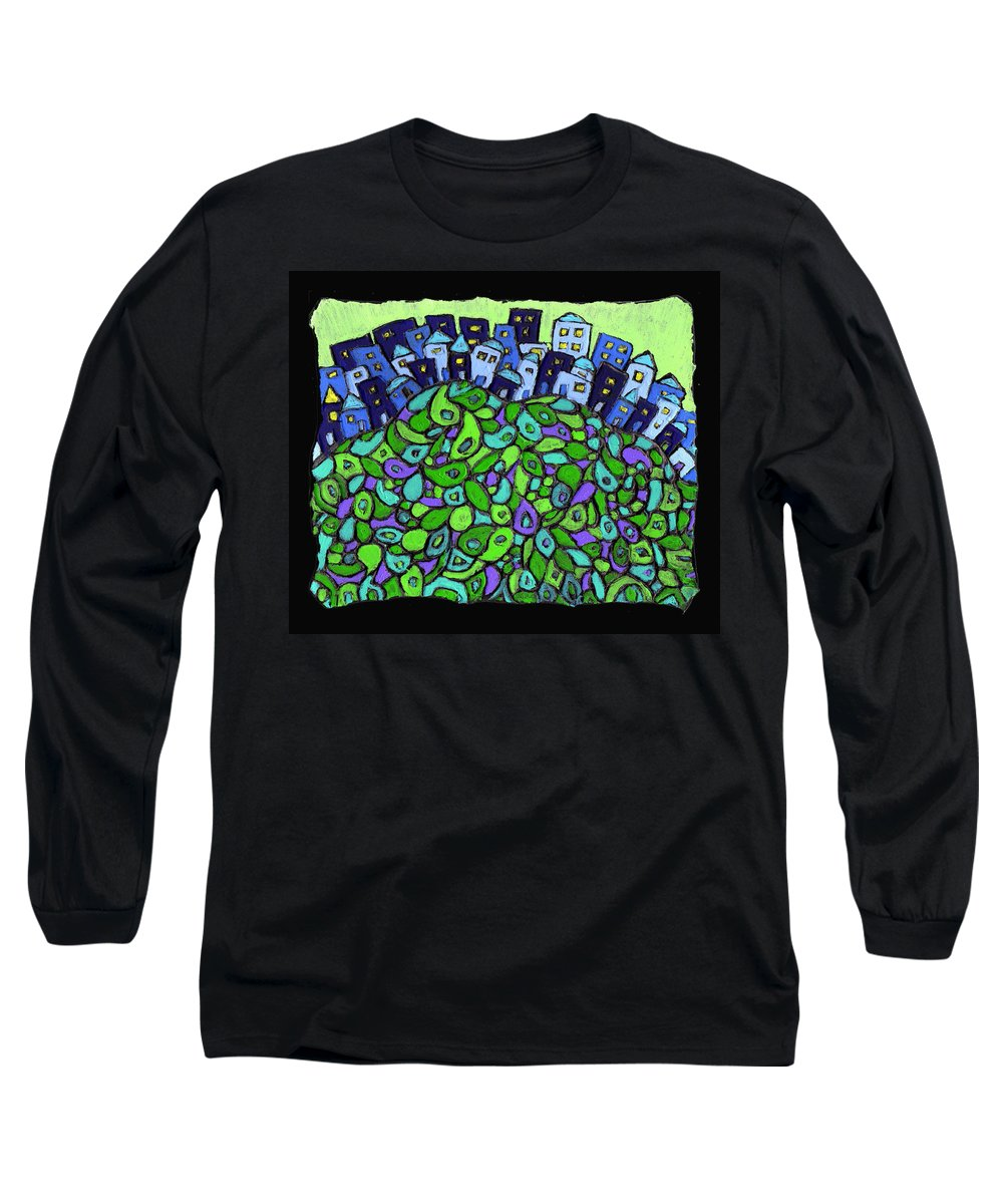 City Long Sleeve T-Shirt featuring the painting Blue City On A Hill by Wayne Potrafka