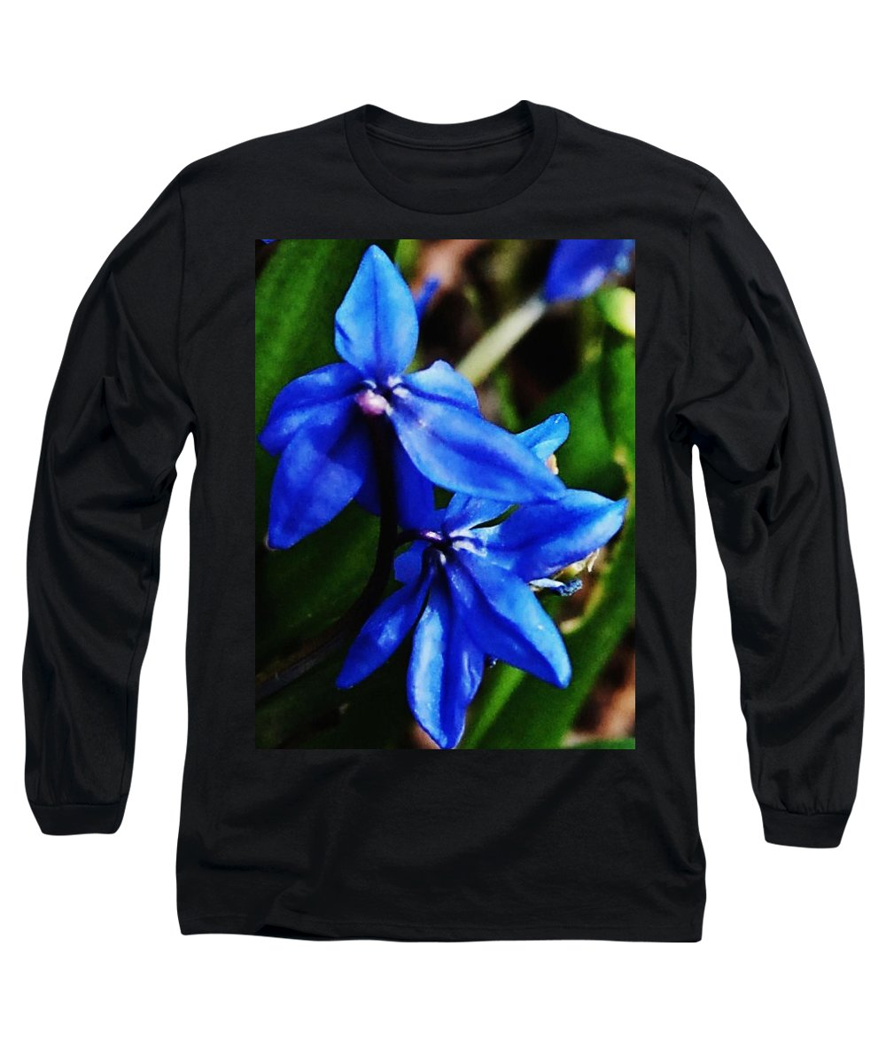 Digital Photo Long Sleeve T-Shirt featuring the photograph Blue Floral by David Lane