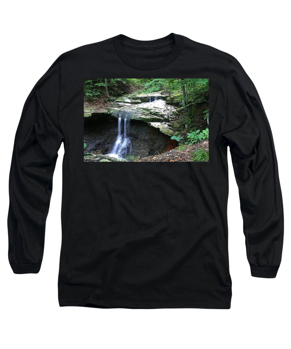 Waterfall. Water Long Sleeve T-Shirt featuring the photograph Blue Hen Falls by Nelson Strong
