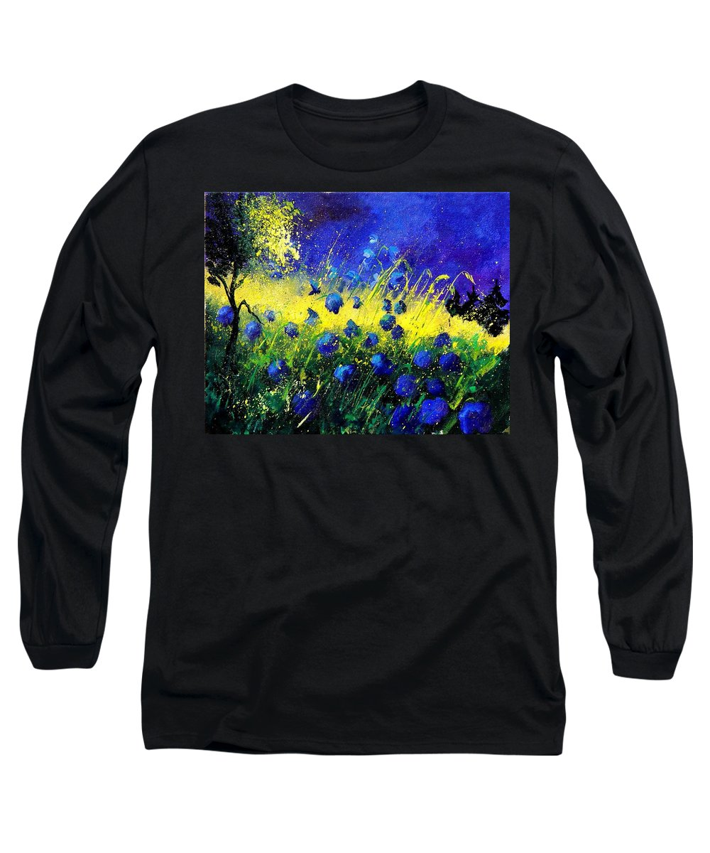 Flowers Long Sleeve T-Shirt featuring the painting Blue Poppies by Pol Ledent