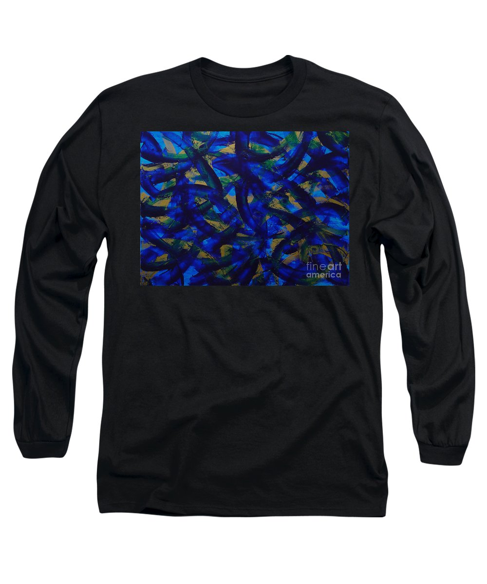 Abstract Long Sleeve T-Shirt featuring the painting Blue Pyramid by Dean Triolo
