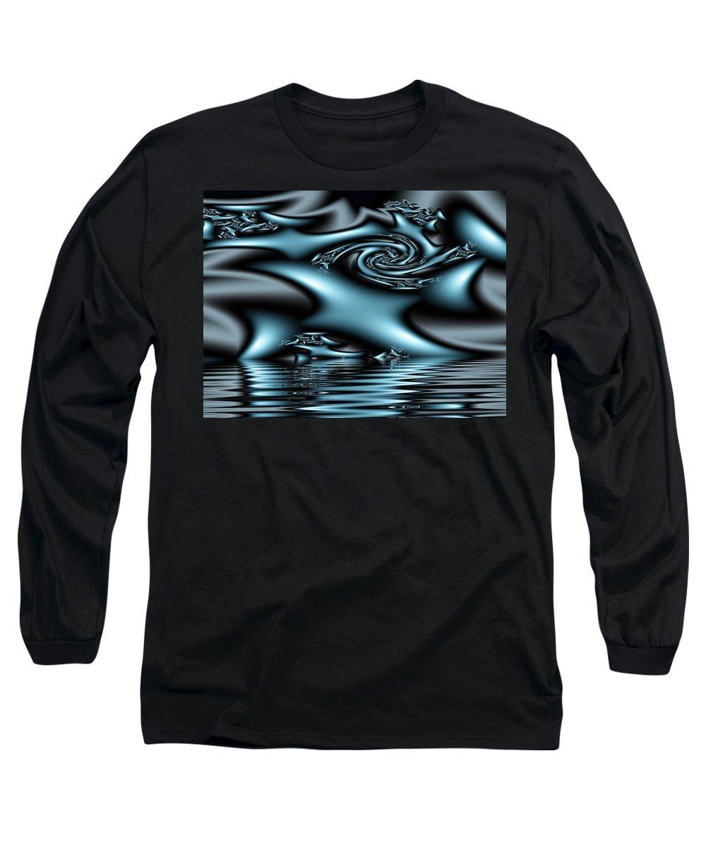 Fractals Blue Lake Sun River Water Long Sleeve T-Shirt featuring the digital art Blue Sun by Veronica Jackson