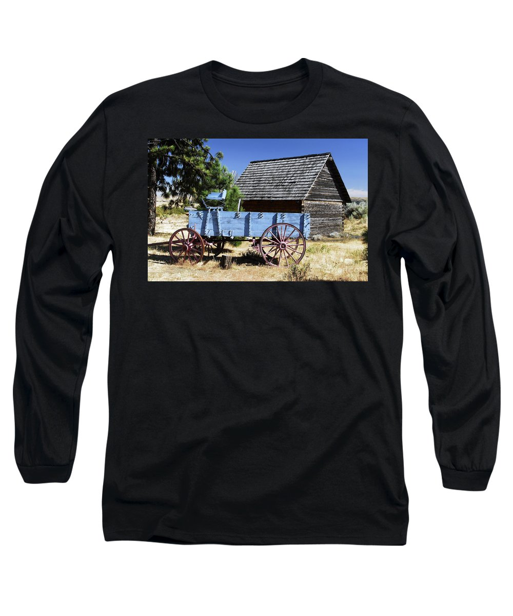 Wagon Long Sleeve T-Shirt featuring the photograph Blue Wagon by David Lee Thompson