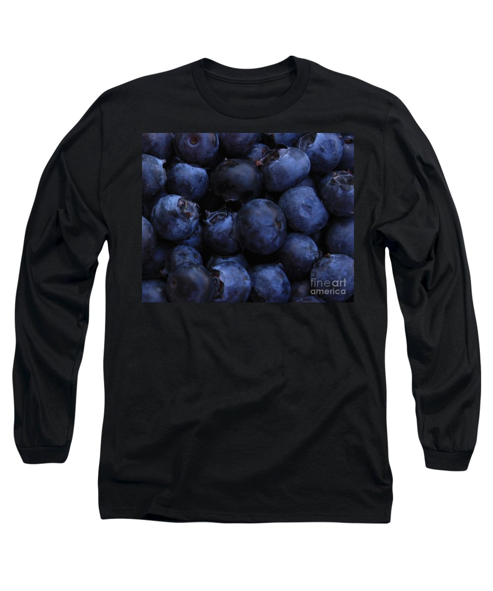 Blueberries Long Sleeve T-Shirt featuring the photograph Blueberries Close-up - Horizontal by Carol Groenen