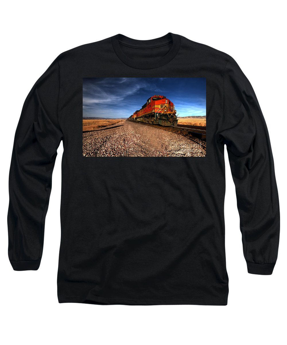 Bnsf Long Sleeve T-Shirt featuring the photograph Bnsf Freight by Rob Hawkins