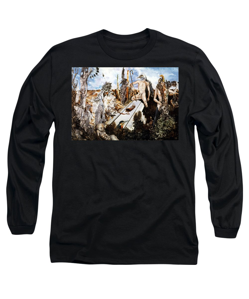 Surrealism Long Sleeve T-Shirt featuring the painting Bogomils Court by Otto Rapp