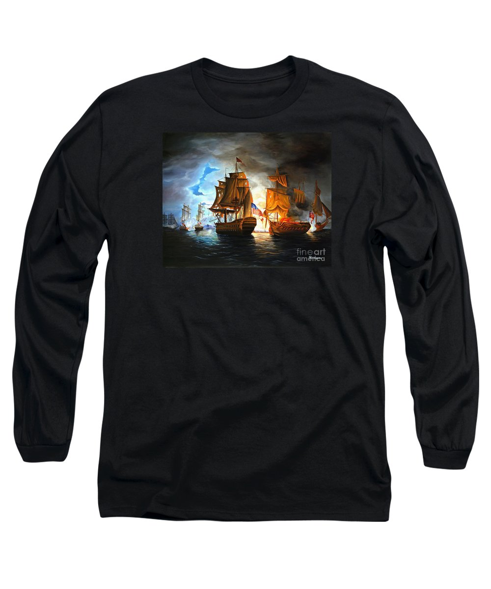 Naval Battle Long Sleeve T-Shirt featuring the painting Bonhomme Richard Engaging The Serapis In Battle by Paul Walsh