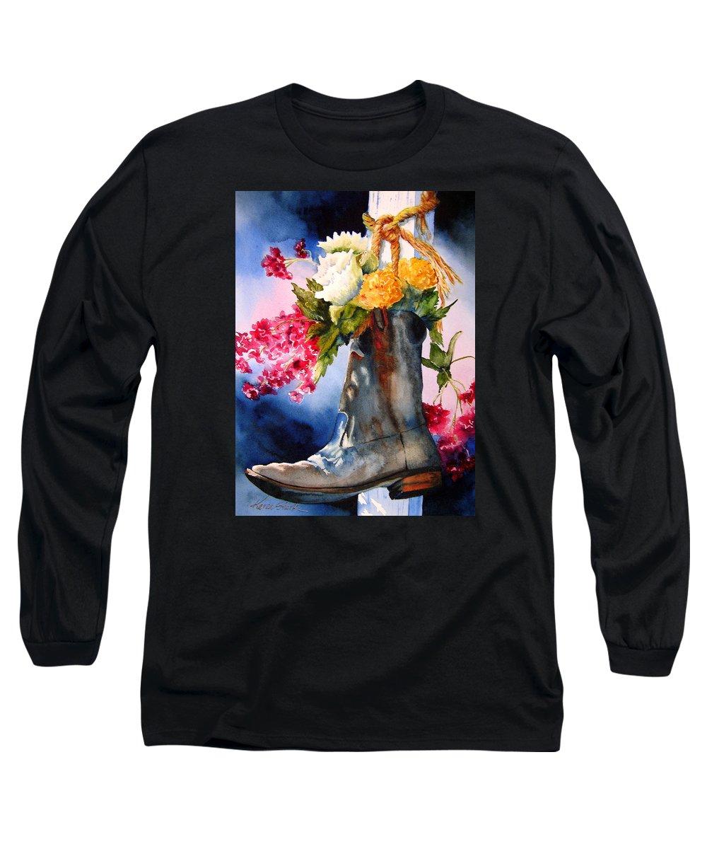 Cowboy Long Sleeve T-Shirt featuring the painting Boot Bouquet by Karen Stark