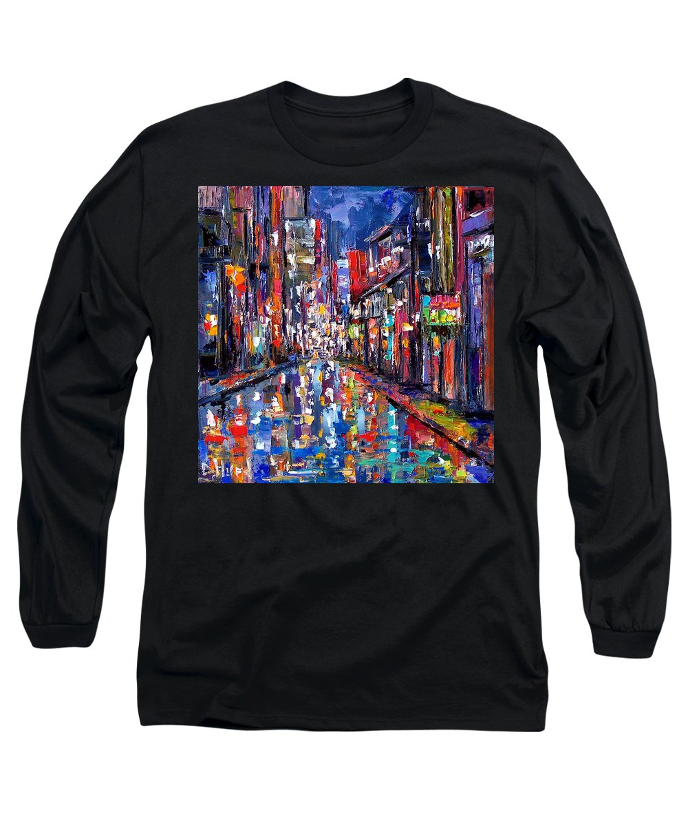 New Orleans Long Sleeve T-Shirt featuring the painting Bourbon Street by Debra Hurd