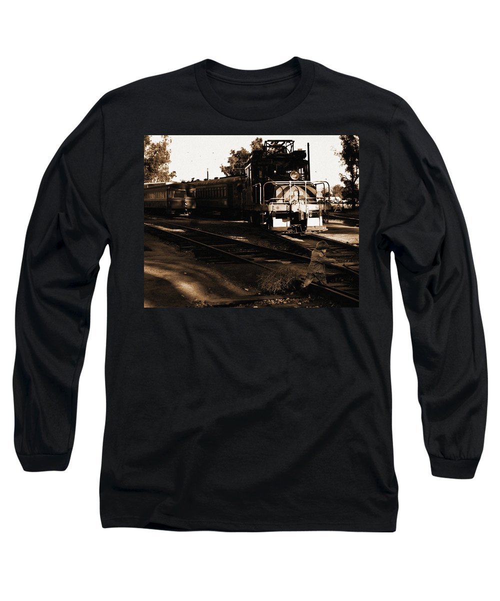 Train Long Sleeve T-Shirt featuring the photograph Boy On The Tracks by Anthony Jones