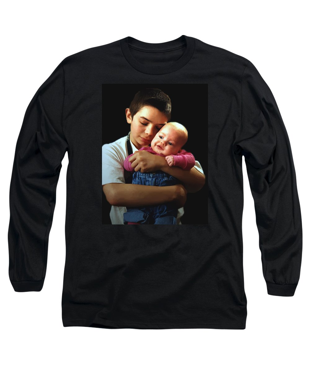 Children Long Sleeve T-Shirt featuring the photograph Boy With Bald-headed Baby by RC deWinter
