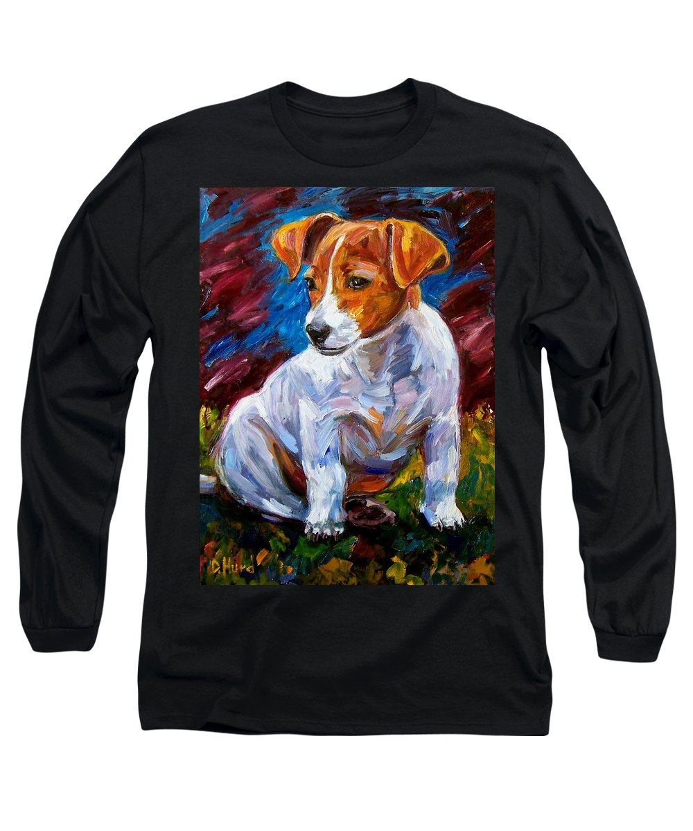 Dog Art Long Sleeve T-Shirt featuring the painting Break Time by Debra Hurd
