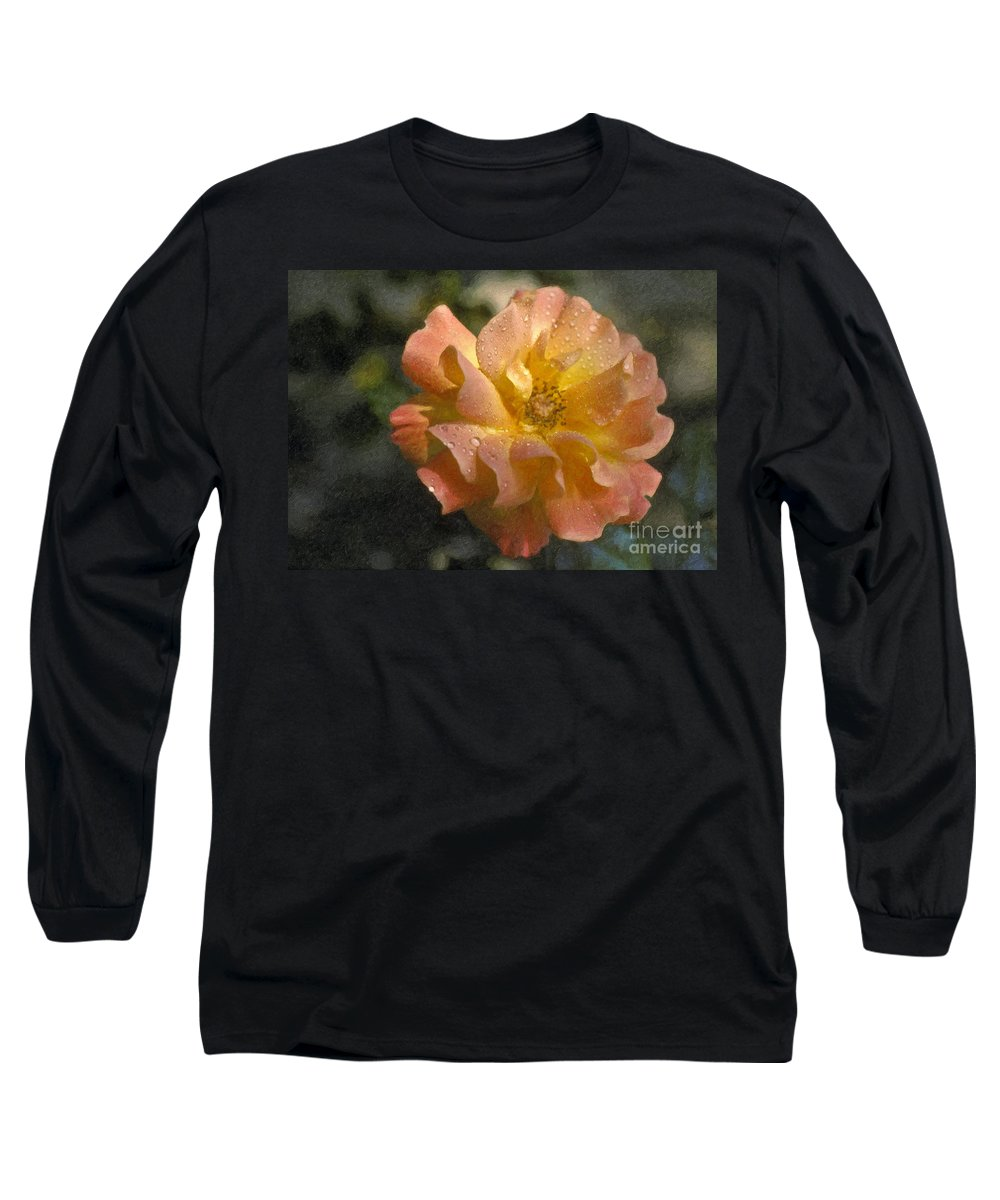 Bridal Pink Yellow Long Sleeve T-Shirt featuring the photograph Bridal Pink Yellow Hybrid Tea Rose Genus Rosa by David Zanzinger