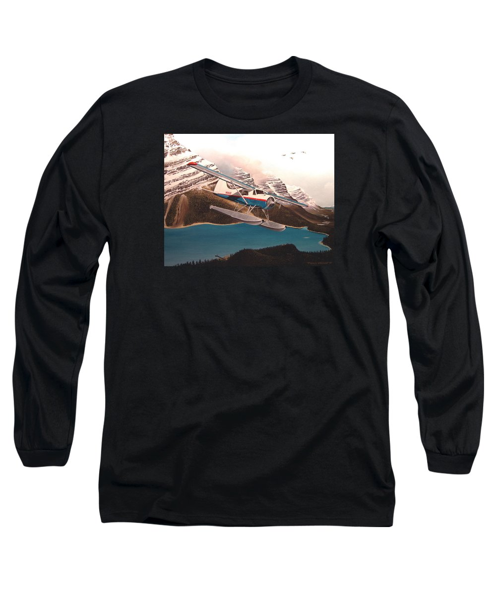 Aviation Long Sleeve T-Shirt featuring the painting Bringing Home The Groceries by Marc Stewart